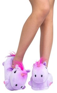 Cute to the Core Slippers Stuffed Plush Warm And Cozy Purple Sandals