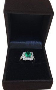 Other PT900 Platinum Emerald Diamonds Ring UK 5.5