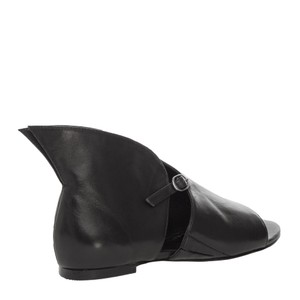 MAX STUDIO By LEON MAX .... Bootie Leather Soles Peep Toe BLACK Sandals