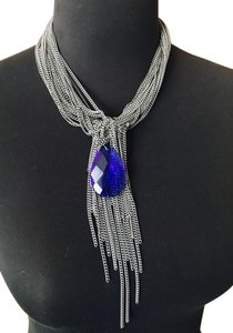 Gemma Redux Gemma Redux Necklace Stainless Steel Chains with Blue Crystal