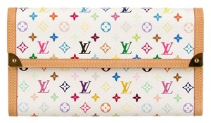 Louis Vuitton White and multicolor coated canvas Louis Vuitton Multicolore International Wallet