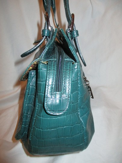 Maxx New York Leather Croc Satchel in green Image 6
