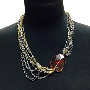 Gemma Redux Gemma Redux Mixed Metals Necklace with Pink Crystal