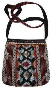 Chico's Cotton Beaded Embriodered Cross Body Bag
