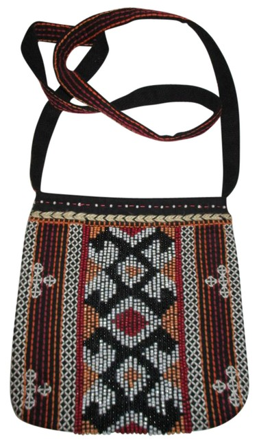 Item - Beaded and Embroidered Canvas Black Multi Cotton Cross Body Bag