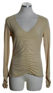 Escada Knit Long Sleeve Ruched Top Beige