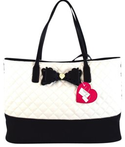 Betsey Johnson Tote in Cream/Black