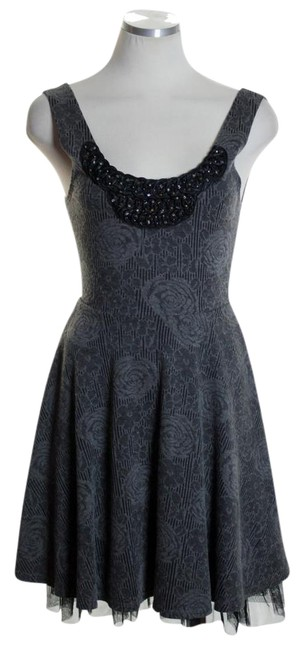 Preload https://img-static.tradesy.com/item/20941773/free-people-gray-fit-and-flare-knit-floral-beaded-tulle-trim-short-casual-dress-size-2-xs-0-1-650-650.jpg