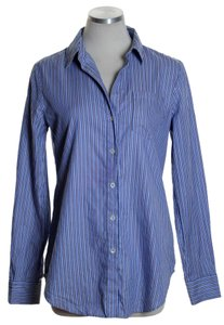Theory Long Sleeve Striped Woven Button Down Shirt Blue
