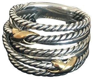 David Yurman Almost Brand New David Yurman 18K/SS 14mm Double Crossover Ring