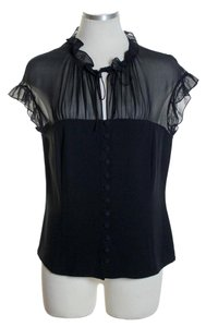 Lafayette 148 New York Mesh Top Black