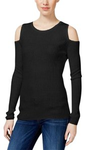 Bar III Knit Ribbed Long Sleeve Cold Stretchy Top Black
