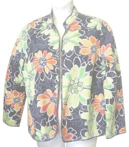 Alfred Dunner Fly Open Floral Quilted Multi-Color Jacket
