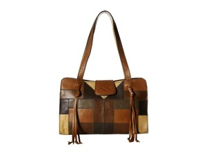 Patricia Nash Designs Satchel in Zigzag Patchwork Tan