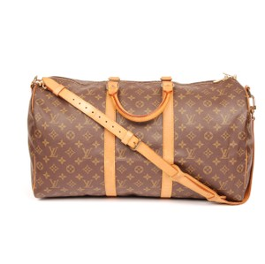 Louis Vuitton Keepall Monogram Canvas Duffle Leather Brown Travel Bag