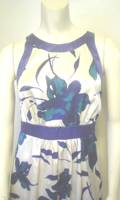 Alyn Paige Strapless Blue Ivory Teal Empire Waist Dress Image 3