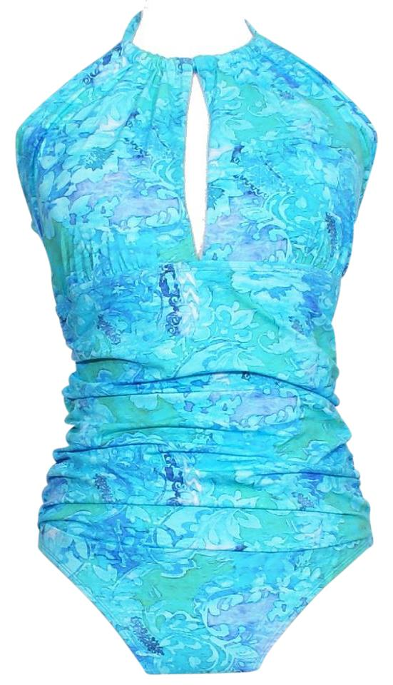66e7a8fd5d Lauren Ralph Lauren Blue Oceania Floral High Neck Halter Slimming Fit  Swimsuit 14 Image 0 ...