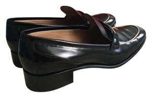 Salvatore Ferragamo Patent Leather Loafers Designer Classic Black Gold Flats