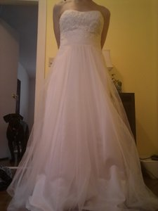 David's Bridal Strapless A-line Beaded Lace Tulle Wedding Dress Wg3586 Wedding Dress