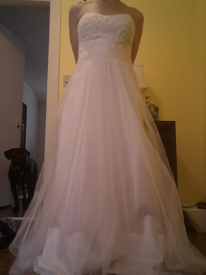 cc04b25733db5 David's Bridal Ivory/Champagne Strapless A-line Beaded Lace Tulle Wg3586  Wedding Dress Size ...