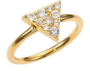 Elizabeth and James White Topaz Pave Triangle Ring