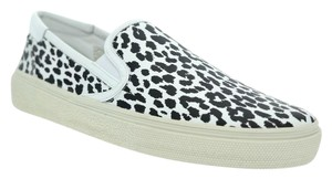 Saint Laurent Ysl Animal Print Espadrille White Black Athletic