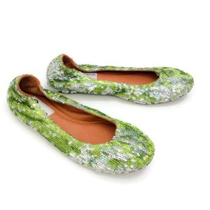 Lanvin Sequin green Flats