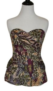 Anthropologie Printed Strapless Silk Top Printed (multi-color)