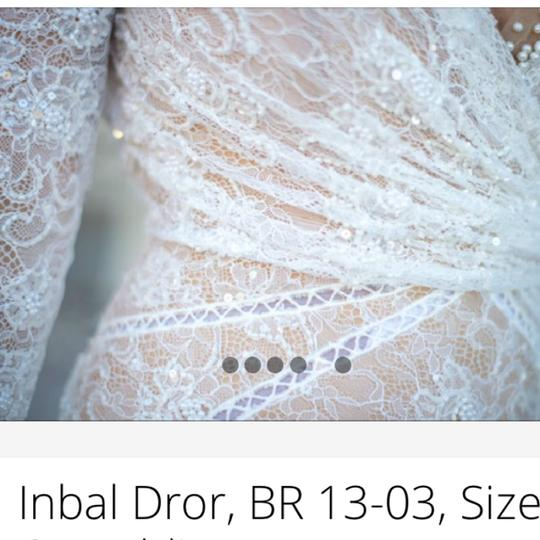 Inbal Dror White Is Made with A Nude Underlay and Heavy Hand Made Lace. Full Beaded with Cross Over Style On Top. Delicate Me 13-03 Modern Wedding Dress Size 2 (XS) Image 6
