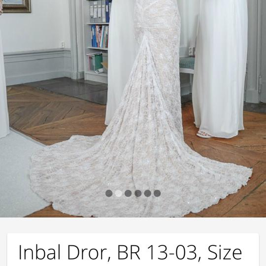 Inbal Dror White Is Made with A Nude Underlay and Heavy Hand Made Lace. Full Beaded with Cross Over Style On Top. Delicate Me 13-03 Modern Wedding Dress Size 2 (XS) Image 7