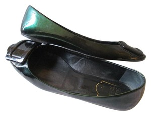 Roger Vivier Patent Ballerina Buckle Made In Italy Green Flats