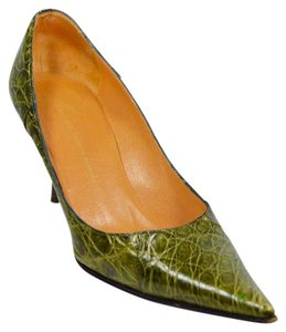 Giuseppe Zanotti Alligator Pointed Toe Green Pumps