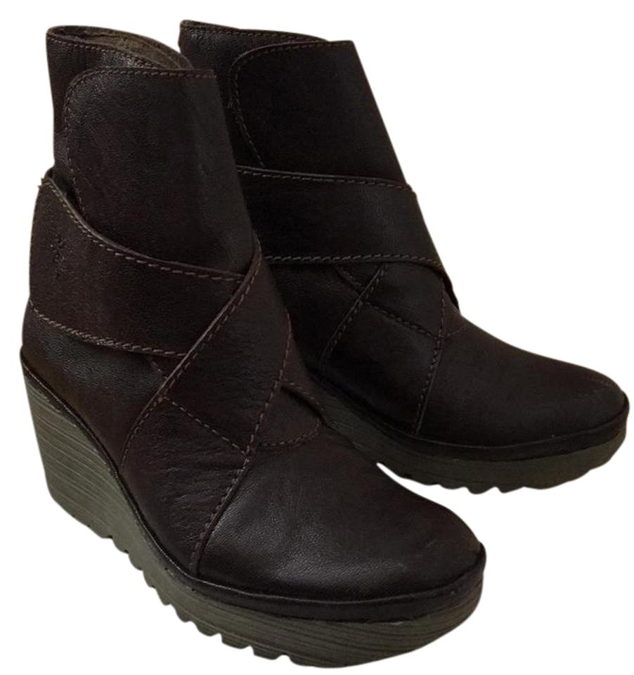 FLY London Dark Brown Brown Dark Wedge Boots/Booties 7089bc