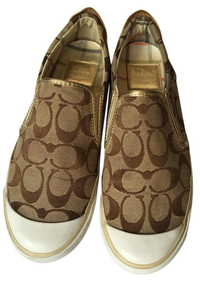 7 Slip Size Coach Toe Retail Gold Signature White Cap Loafer RegularmB54Off Beale Flats Sneaker Leather Brown Us On 34RLjc5qA