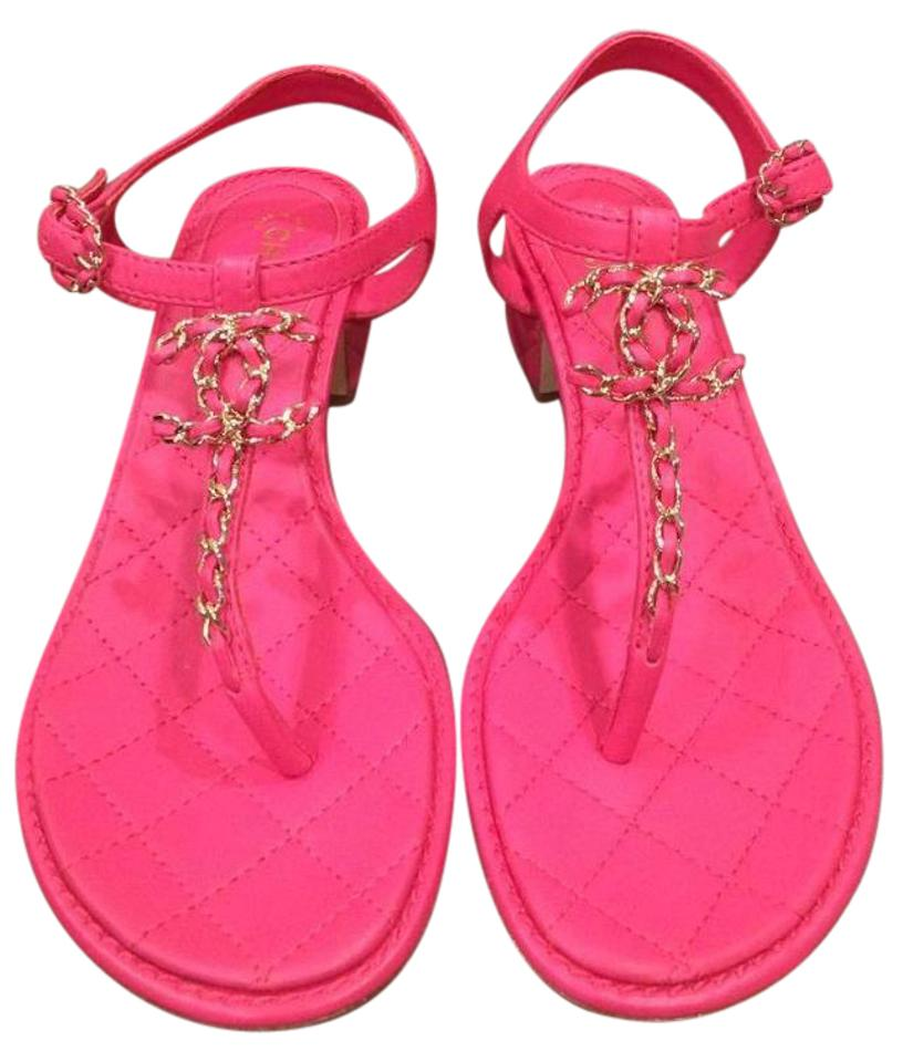 19fee6c4c0 Chanel Fuchsia Pink 16c Leather T Strap Quilted Heel Cc Logo 37.5 Sandals.  Size: US 7.5 ...
