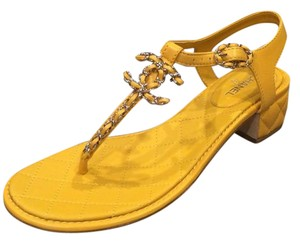 Chanel Quilted T Strapp Cc Yellow Sandals