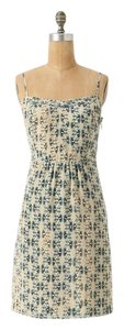 Anthropologie short dress Cream and Blue on Tradesy