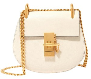 Chloé Chloe Mini Drew White Textured Leather Shoulder Bag