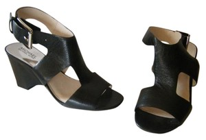 MICHAEL Michael Kors Leather Cushioned Buckle Strap Open Toe Black Wedges