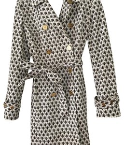 Tory Burch Gold Trench Spring Raincoat Logo Buttons Trench Coat