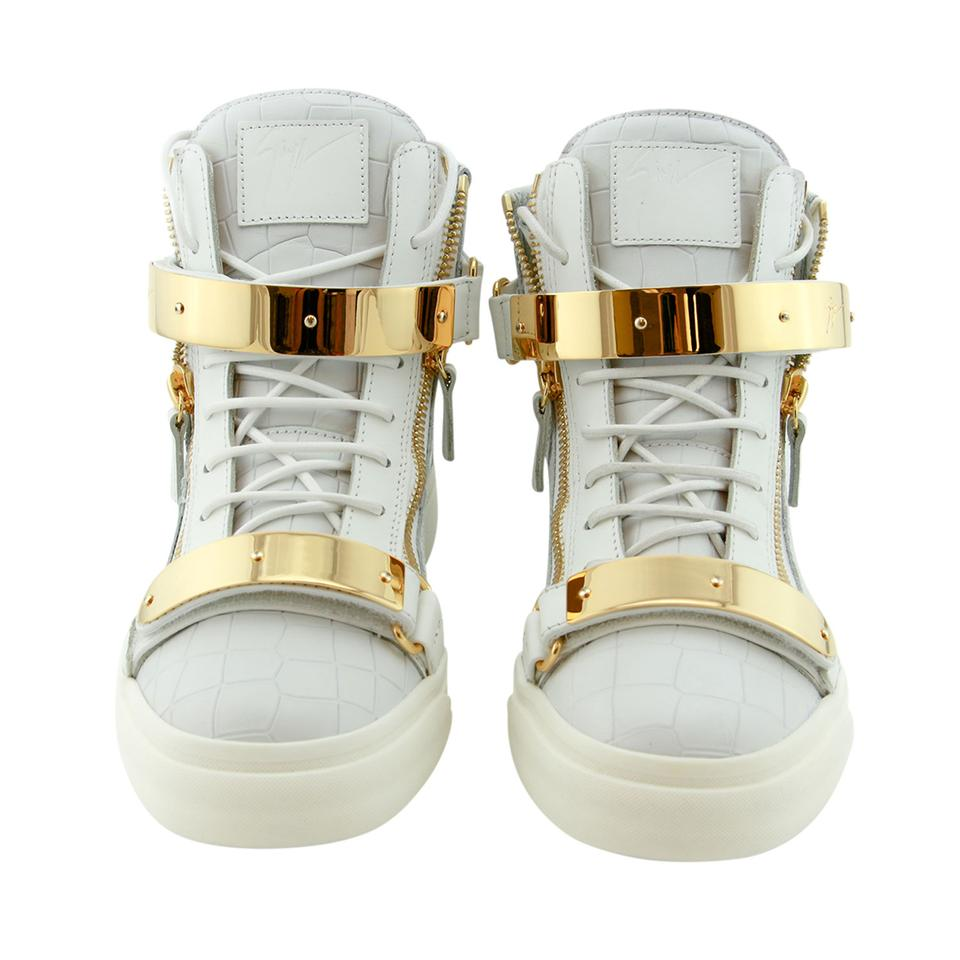 681866df7fe05 Giuseppe Zanotti White Gold New Men Leather Double Metal Strap High-top  Sneaker Eu 43 Boots/Booties