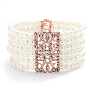Mariell Ivory Pearl & Rose Gold Vintage Stretch Bracelet