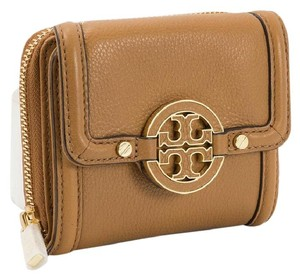 Tory Burch Royal Tan Amanda Trifold Zip Logo Wallet