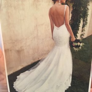 Essense of Australia Ivory/Oyster Lace/Satin D1865 Sexy Wedding Dress Size 6 (S)
