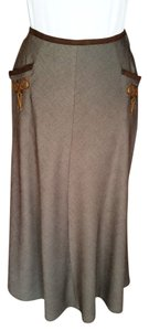 Double D Ranchwear Tailored Suede Trim Slash Pockets Embroidered Embellished Maxi Skirt Brown