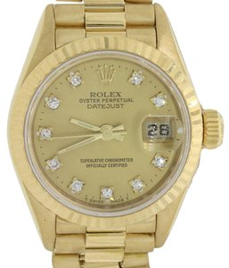 Rolex Ladies Rolex DateJust President 26mm 69178 18K Gold Diamond Watch