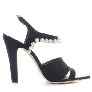 Chanel Thong Bow Pearl Black Sandals