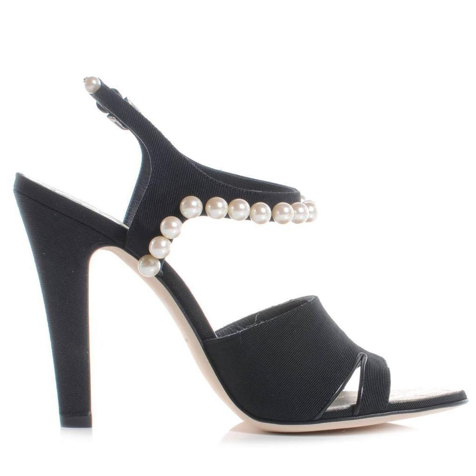 71c9e275d16b58 Chanel Black 14p Satin Pearl Embellished Ankle Strap Heels Sandals ...