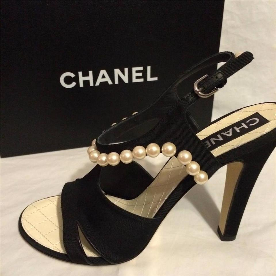 eca9079ab00 Chanel Black 14p Satin Pearl Embellished Ankle Strap Heels Sandals ...
