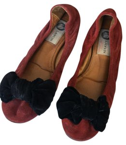 Lanvin Velvet Suede Bow Red Flats